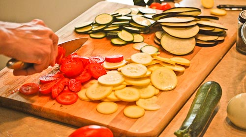 Preparing vegetables for Gourmet Ratatouille